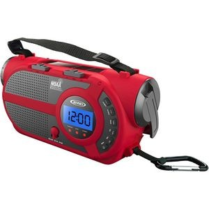 Jensen® AM/FM Weather Band/Weather Alert Radio with 4-Way Power and Built In Flashlight